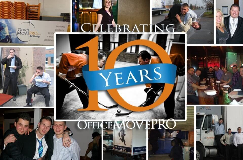Office Move Pro 10 year anniversary staff collage