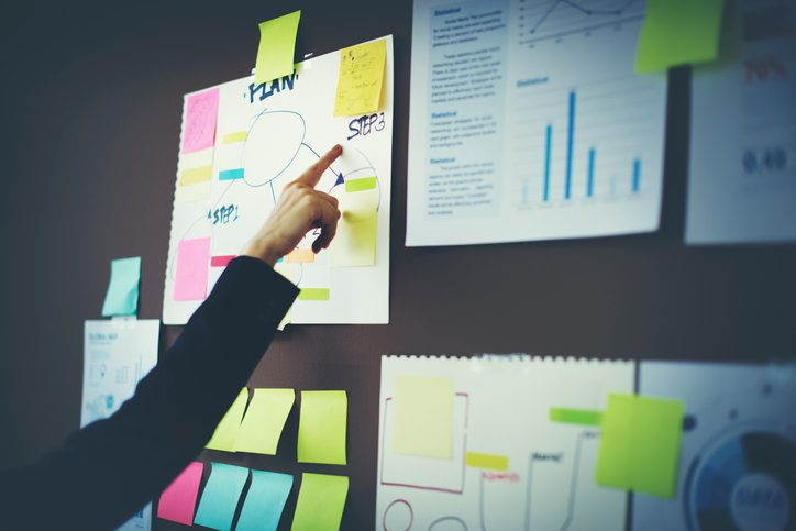 creating an office plan with diagrams and sticky notes