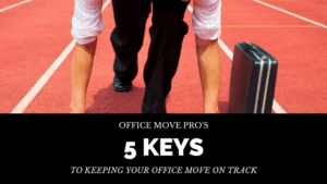 office mover at the starting line of a race track