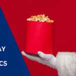 7 classic office movies, santa and bucket of popcorn