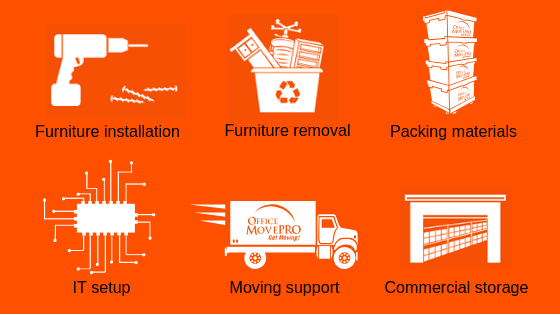 icons of professional office relocation services