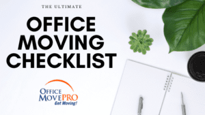office moving checklist sitting on a desk with plant