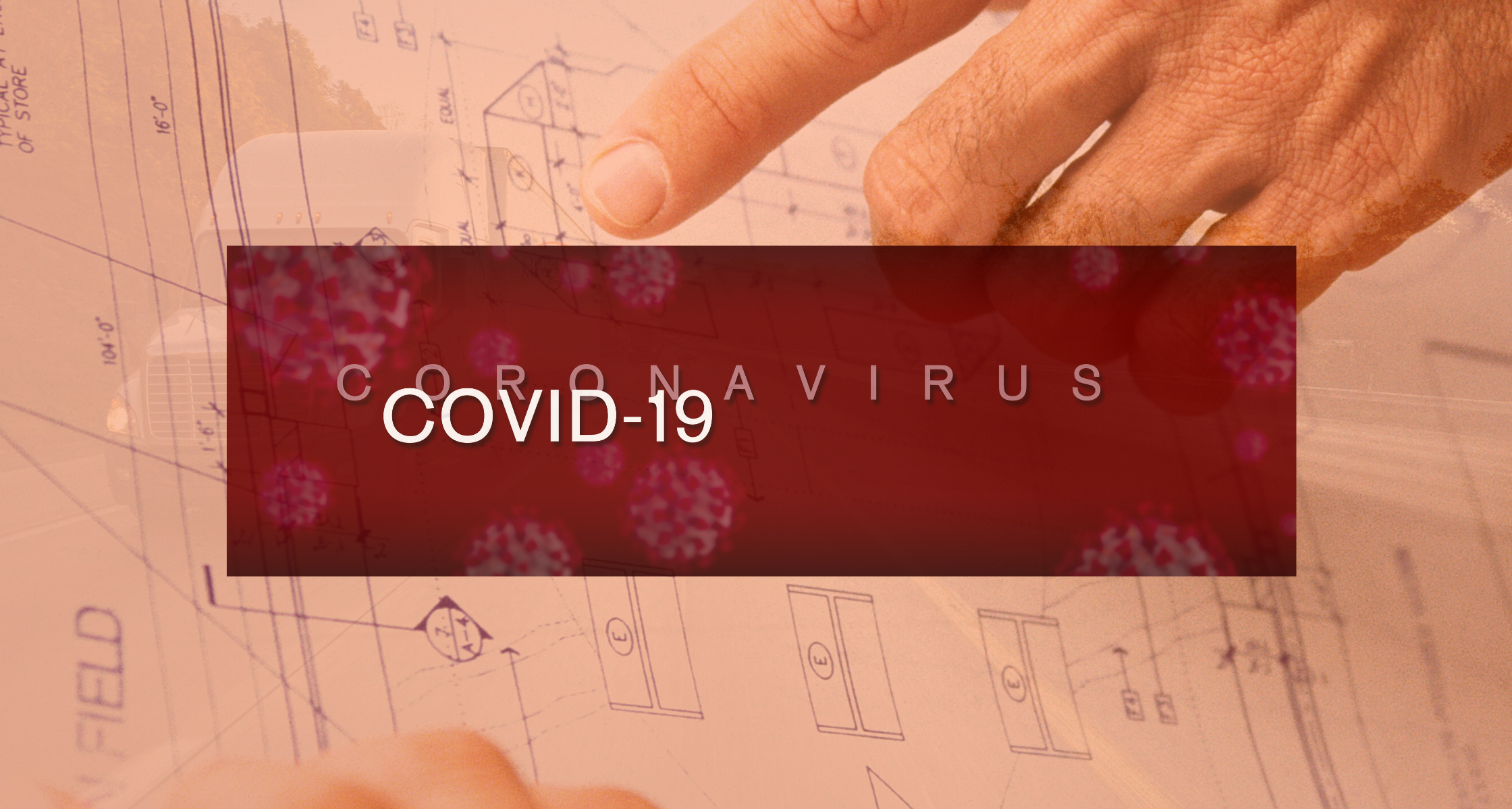 workspace blueprint with covid 19 text overlay